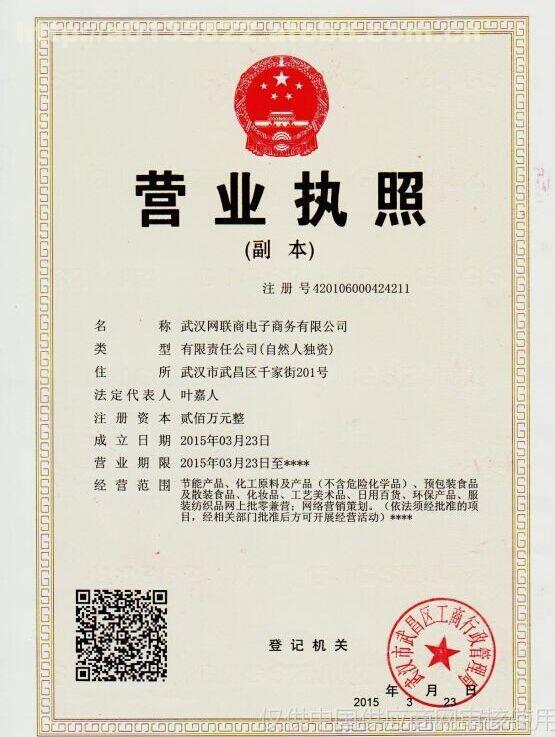 武汉工商网企业�z*_企业法人营业执照_武汉网联商电子商务有限公司